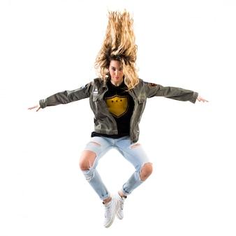 Teenager girl jumping