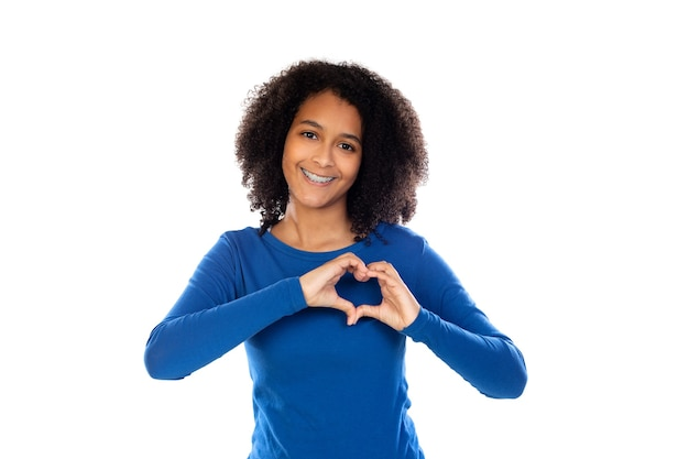 Девушка подросток носить синий свитер изолированные