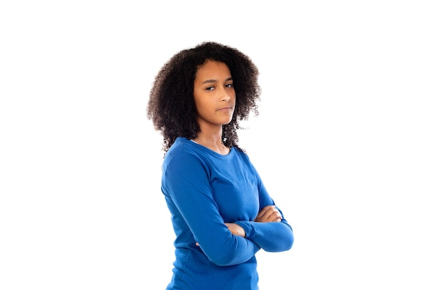 Teenager girl with afro hair wearing blue sweater isolated