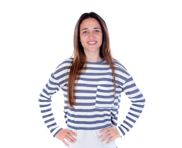 Teenager girl with striped t-shirt and her hands