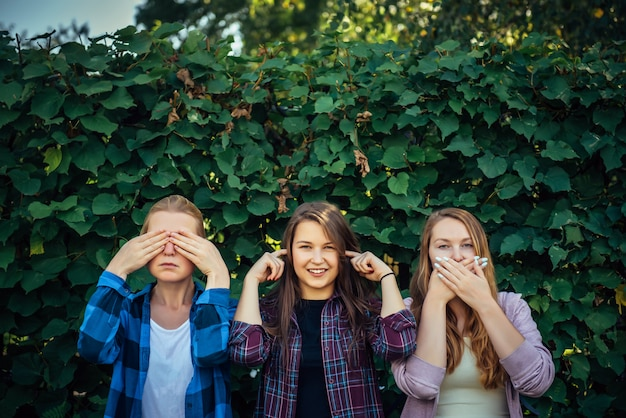 Teenager girls doing the three wise monkeys gestures in the park. three women cover their ears, eyes, and mouth