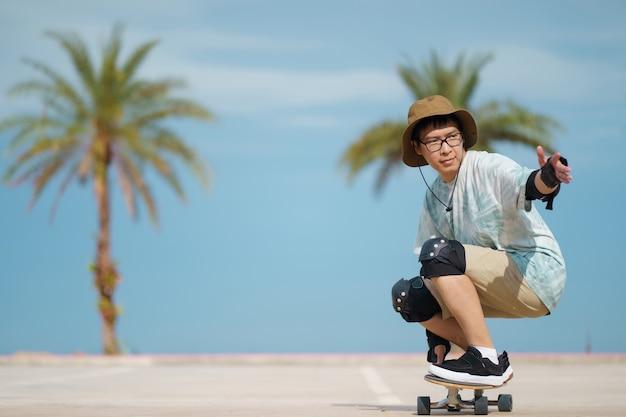 Teenager having fun with skateboard