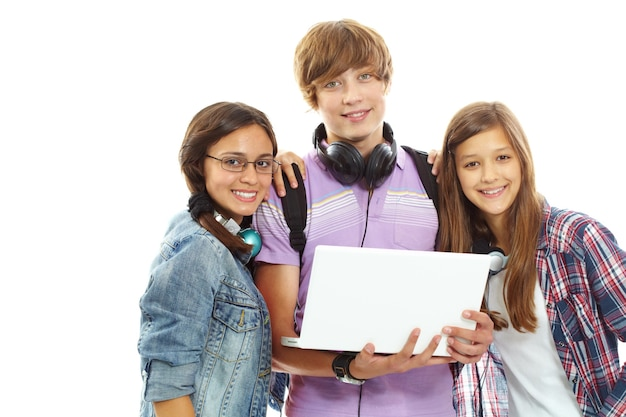 Teenager holding a laptop