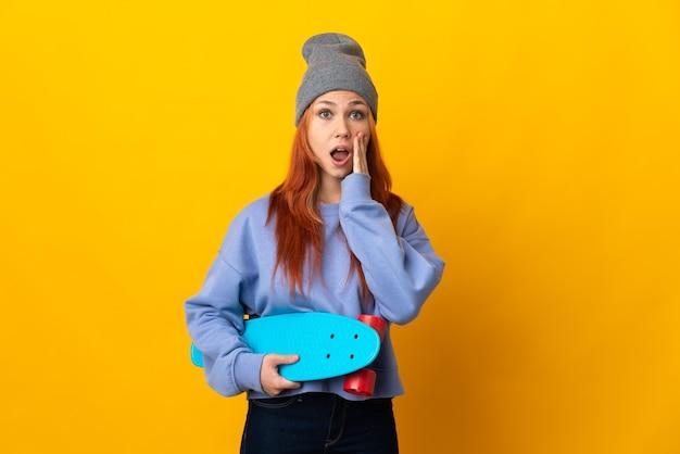 孤立したティーンエイジャーのロシアのスケーター女性