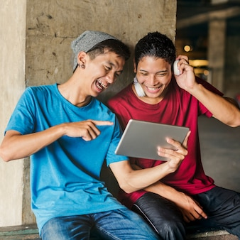 Teenager sharing streaming lifestyle listening concept