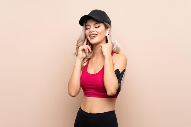 Teenager sport girl listening music