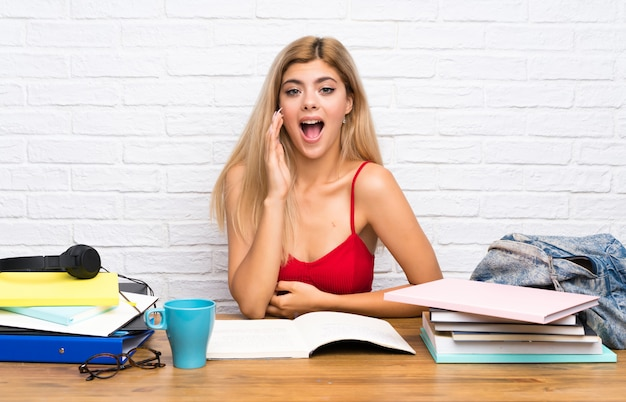 Teenager student girl at indoors