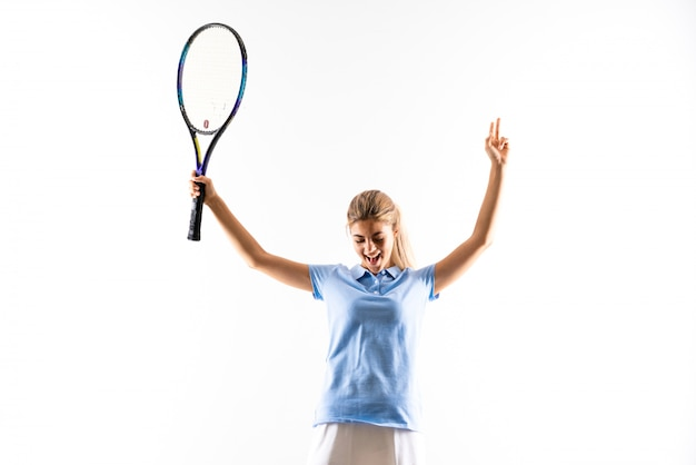 Teenager tennis player girl over isolated white background