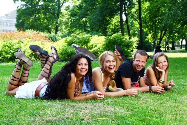 Teenagers group  in the park