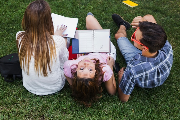 Teenagers having fun while studying