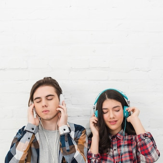 Teenagers listening to music
