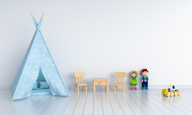 Teepee in child room interior for mockup