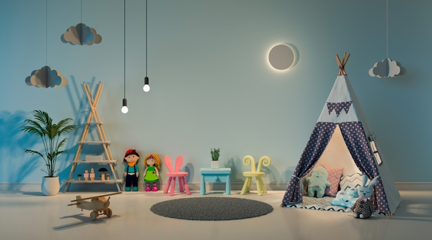 Teepee in child room interior at night