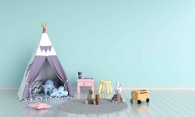 Teepee in child room interior