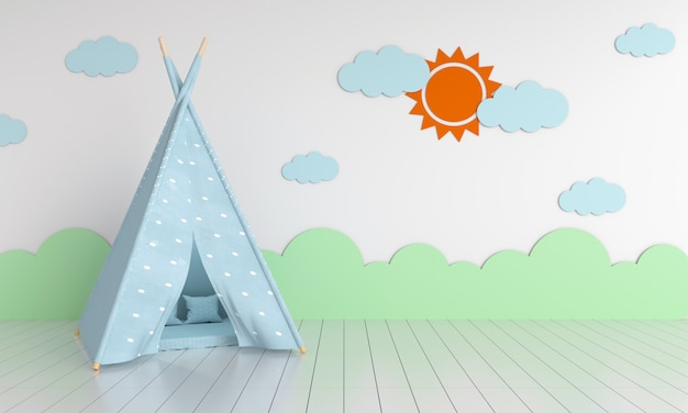 Teepee in child room for mockup