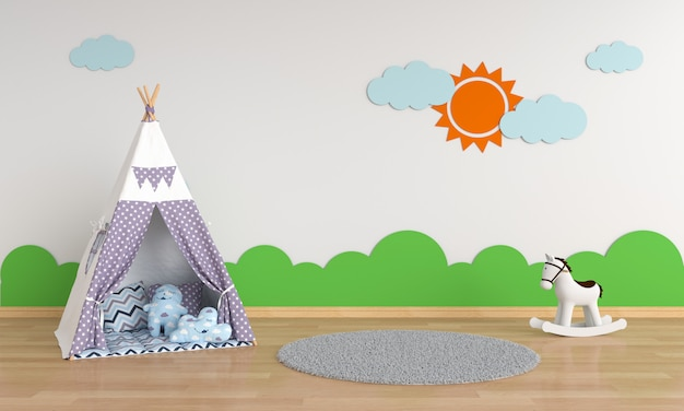 Teepee in children room interior for mockup