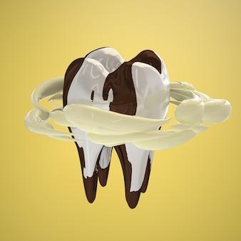 Зубы в горошек, как у коровы. понятие о крепких зубах из-за употребления коровьего молока. 3d визуализация.