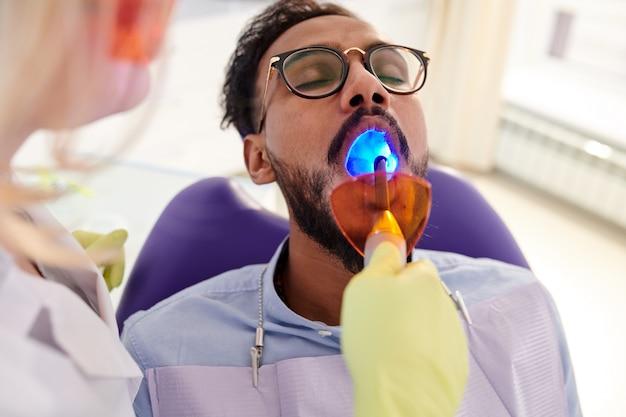 Teeth whitening in dental clinic