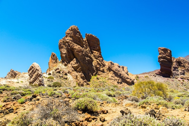 Teide volcano view from the bottom of a desert on tenerife island