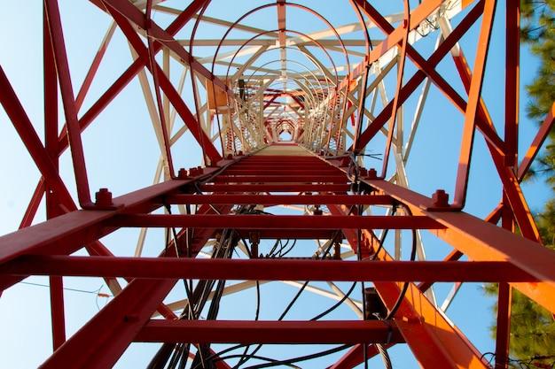 Telecom blue sky background,phone antenna