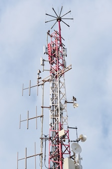 Telecommunication antennas with blue sky