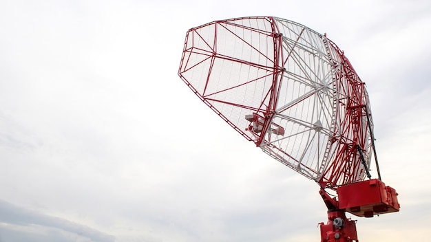 Telecommunication base station colored in red and white colors in chisinau, moldova