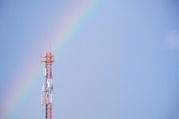 Telecommunication mast tv antennas wireless technology on blue sky background