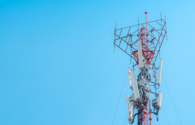 Telecommunication tower. antenna on blue sky. radio and satellite pole. communication technology. telecommunication industry. mobile or telecom 5g network. network connection business background.