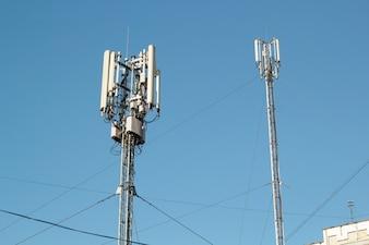 Telecommunication tower. Digital wireless communication system. Basic station mobile phone
