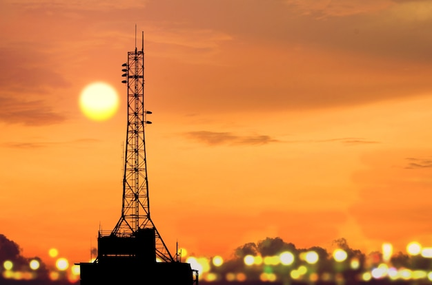Telecommunication tower in evening light.