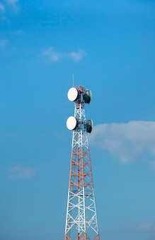 Telecommunication tower with antennas on a surface of blue sky and clouds