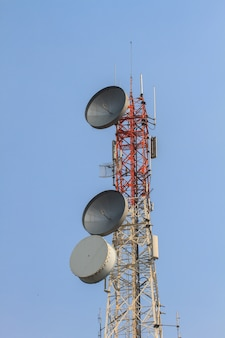 Telecommunication tower with beautiful sky background,antennas of cellular systems