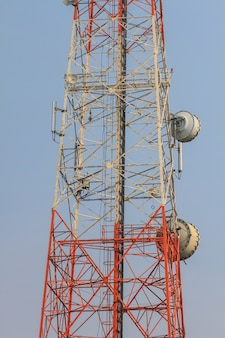 Telecommunication tower with beautiful sky background