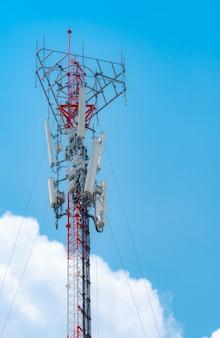 青い空と青い空に白い雲の背景アンテナと通信塔