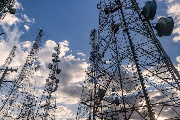 Telecommunications towers with  at the jabre peak in matureia paraiba brazil