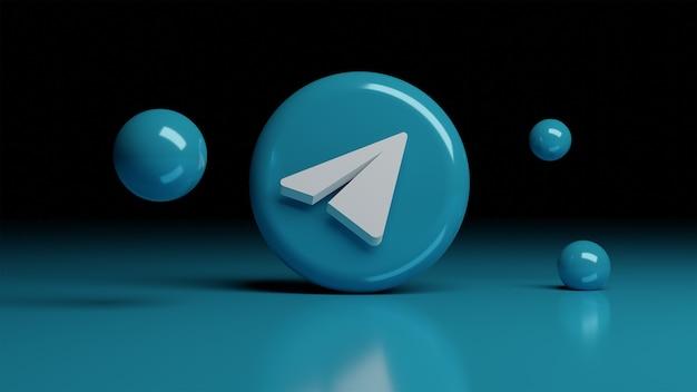 전면의 텔레그램 3d 아이콘