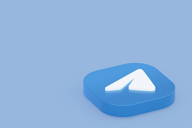 Логотип приложения telegram 3d-рендеринг на синем фоне
