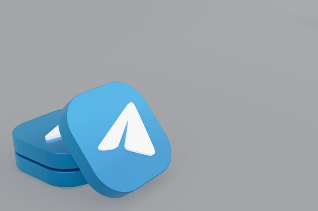 Логотип приложения telegram 3d-рендеринг на сером фоне