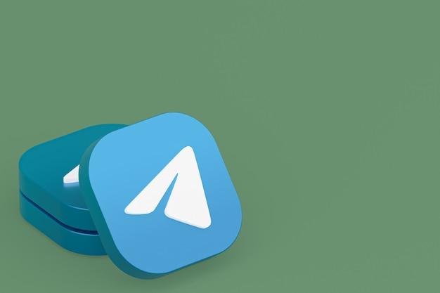 Логотип приложения telegram 3d-рендеринг на зеленом фоне