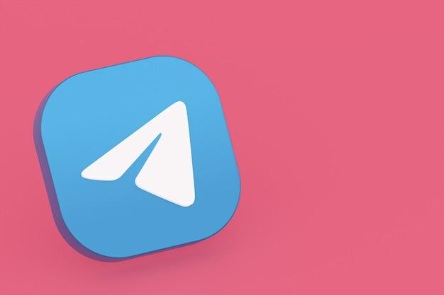 3d-рендеринг логотипа приложения telegram на розовом фоне