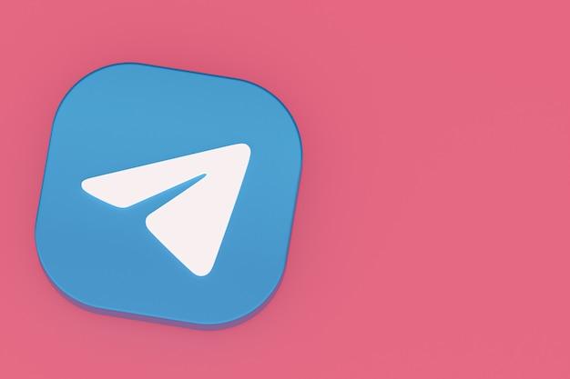 Логотип приложения telegram 3d-рендеринг на розовом фоне