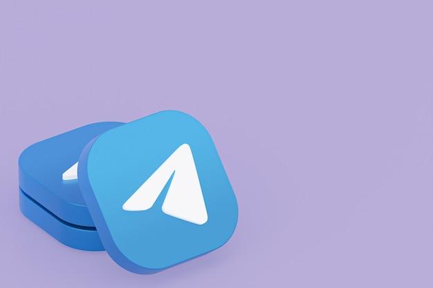 3d-рендеринг логотипа приложения telegram на фиолетовом фоне