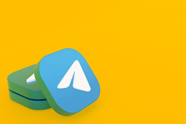 3d-рендеринг логотипа приложения telegram на желтом фоне