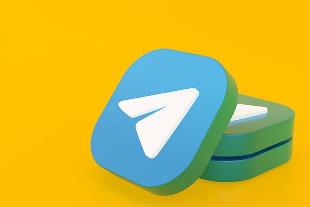Логотип приложения telegram 3d-рендеринг на желтом фоне