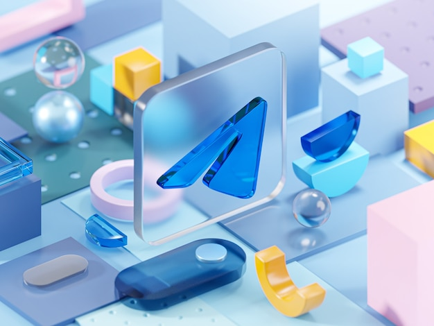 Telegram glass geometry shapes abstract composition art 3d rendering