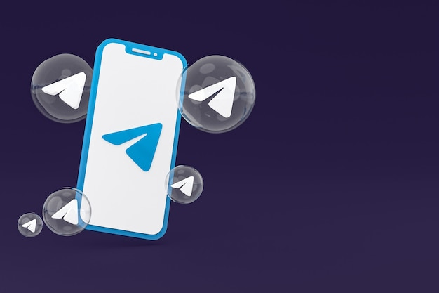 画面上の電報アイコン携帯電話の3dレンダリング