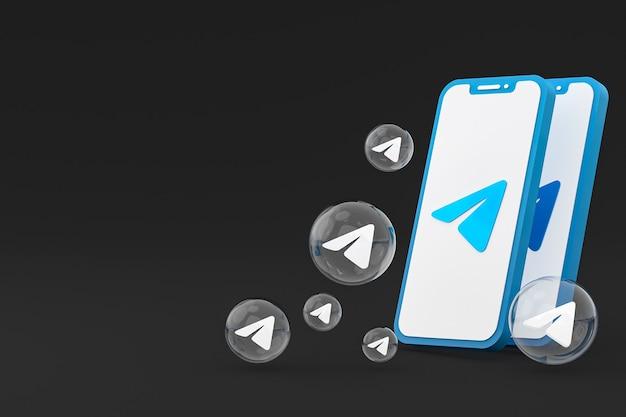 Значок телеграммы на экране мобильных телефонов 3d визуализации