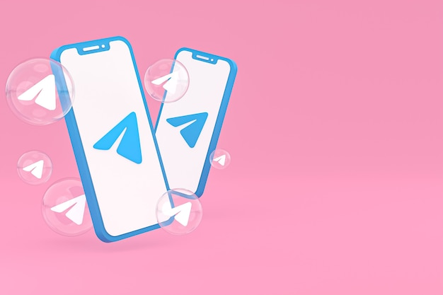 画面上のスマートフォンまたは携帯電話の3dレンダリングの電報アイコン