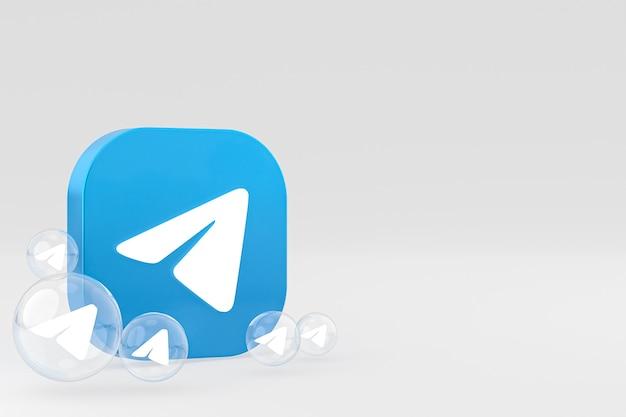 Значок telegram на экране смартфона или мобильного телефона 3d визуализации
