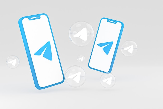 Значок телеграммы на экране смартфона или мобильного телефона 3d визуализации